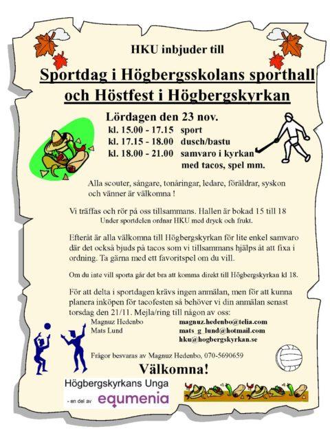 Sportdag och fest med HKU – 23 november